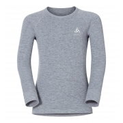 Odlo Warm Kid LS Crewneck Ski Thermal Top in Grey