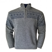 Steffner Island Z Mens 1/2 Zip Knitted Top in Grey Blue