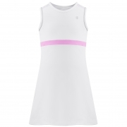 Poivre Blanc Girls Tennis Dress in White and Sakura Pink