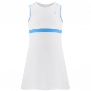 Poivre Blanc Girls Tennis Dress in White and Riviera Blue