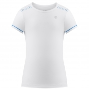 Poivre Blanc Girls Tennis T-Shirt in White and Riviera Blue
