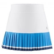 Poivre Blanc Girls Tennis Skirt in White and Riviera Blue