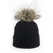 M Miller Cashmere Rib Womens Ski Hat in Black