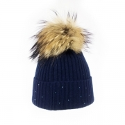 M Miller Cashmere Rib Womens Ski Hat in Navy