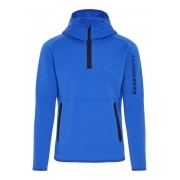 J Lindeberg Logo Hood Tech Sweat Mens Midlayer in Daz Blue