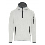 J Lindeberg Logo Hood Tech Sweat Mens Midlayer in Stone Grey