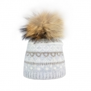 Steffner Falun Womens Ski Hat in Grey Cream Beige