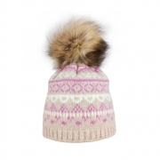 Steffner Falun Womens Ski Hat in Pink Beige Cream