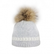 Steffner Flims Pelz Girls Ski Hat in Light Grey