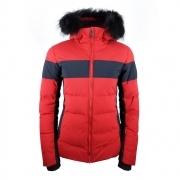 Fusalp Carella Fur Womens Ski Jacket in Red and Blue