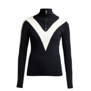 Fusalp Victoire Knit Zip Womens Midlayer in Navy with White Stripe