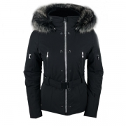 Poivre Blanc Belted Stretch Womens Ski Jacket in Black