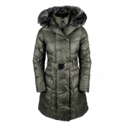 Poivre Blanc Ava Womens Winter Coat in Khaki Grey