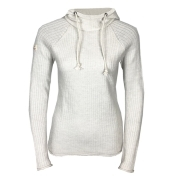 Amundsen Boiled Hoodie Ribbed Womens Knited Midlayer in Oatmeal