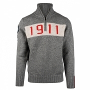 Amundsen 1911 Half Zip Mens Knitted Midlayer in Light Grey