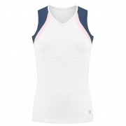 Poivre Blanc Womens Tennis Tank Top In White And Deep Blue Sea