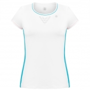 Poivre Blanc Womens Tennis T-Shirt In White And Borabora Blue