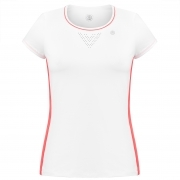 Poivre Blanc Womens Tennis T-Shirt In White And Spritz Red