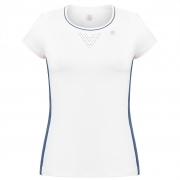 Poivre Blanc Womens Tennis T-Shirt In White And Deep Sea Blue