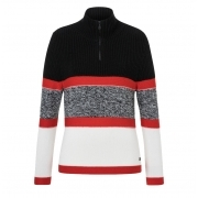 Glen Womens Knitted Midlayer in Black with Red Stripe