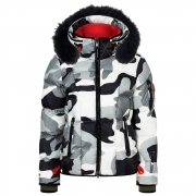 Giana D Womens Jacket in Black Grey Camo