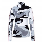 Beline1 Womens Baselayer Top in Camo Black