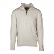 Peak Half Zip Mens Knitted Midlayer In Oatmeal