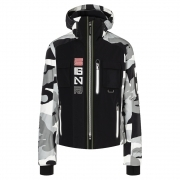 Brian-T Mens Jacket in Black White Camo