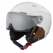 Backline Visor Premium Ski Helmet in Shiny Galaxy White