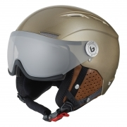 Backline Visor Premium Ski Helmet in Shiny Gold And Cognac