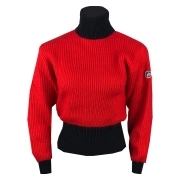 Muzelle Womens Roll Neck Top in Red and Black