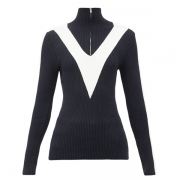 Victoire Womens Knit Zip Midlayer in Dark Blue
