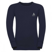 Odlo Warm Kid LS Crewneck Ski Thermal Top in Navy