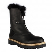 La Thuile Sella Womens Leather Winter Boot in Black