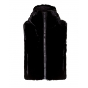 Pegase Womens Faux Fur Gilet in Black