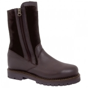 La Thuile Mens Leather Winter Boot in Dark Brown