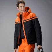 Alfonse Mens Jacket in Orange Black