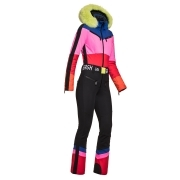 Goldbergh Pearl Ski Suit in Rainbow with Yellow Trim