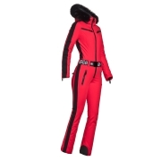 Goldbergh Empress Ski Suit Saga Fur Trim in Ruby Red