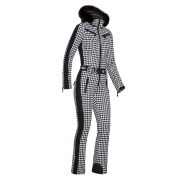 Goldbergh France Ski Suit Saga Fur Trim in Blk/Wh