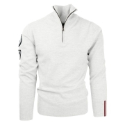 Amundsen Peak Mens Half Zip Knit in Oatmeal