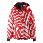 Reima Frost Girls Ski Jacket in Red Stripe