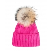 Bogner Leonie Womens Designer Ski Hat in Pink with Natural Pom