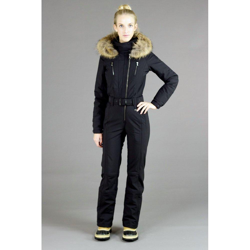 Womens Snow Suit One Piece >> Poivre Blanc Womens One Piece Ski Suit in Black