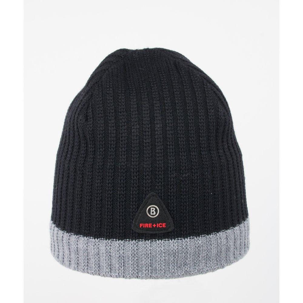 2ddb7348ca9 Bogner Helm Mens Designer Ski Hat in Black with Grey Stripe