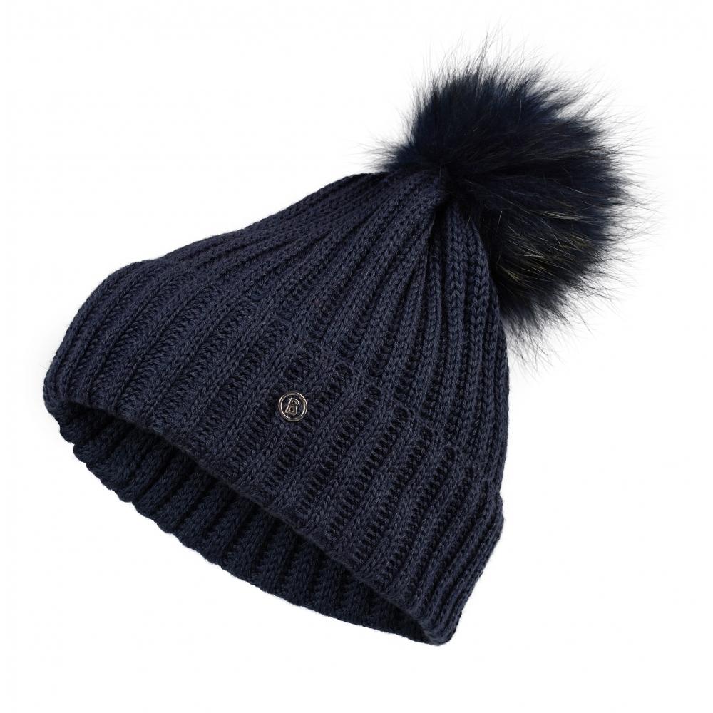 bogner leonie womens designer ski hat in navy with navy pom