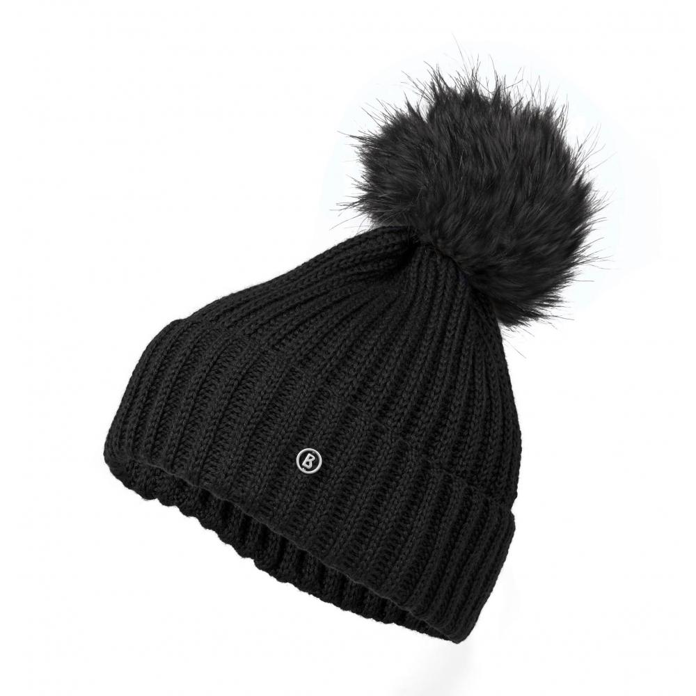 9a158e68f6a Bogner Leonie Womens Designer Ski Hat in Black with Black Pom