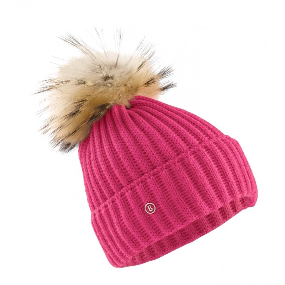 ce32b6516f6 Bogner Leonie Womens Designer Ski Hat in Pink with Natural Pom