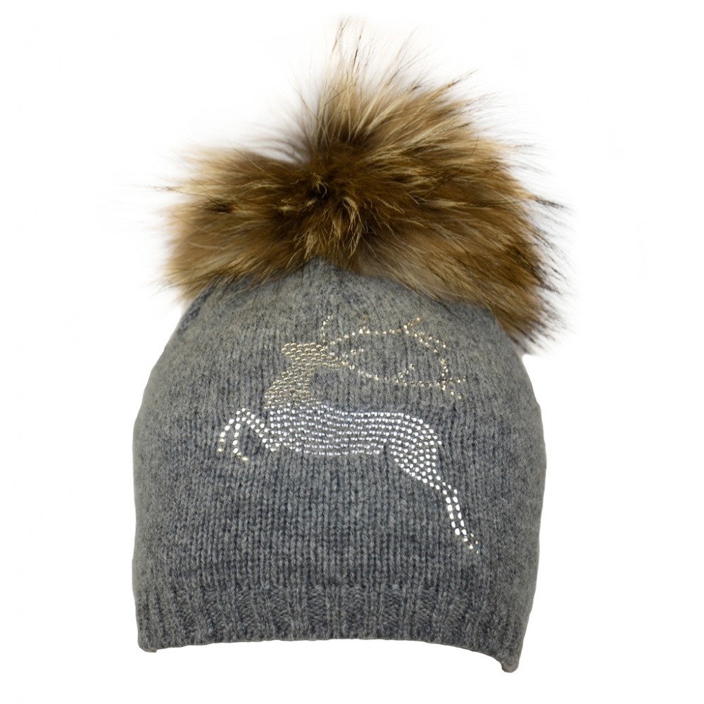 303494cdb08 Steffner Bella Womens Fur Pom Ski Hat in Grey