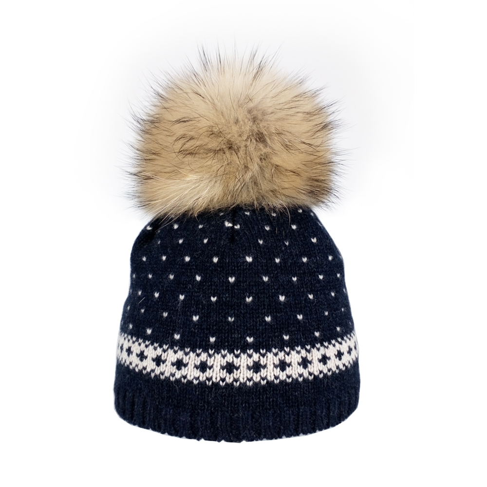 1131f44397a Steffner Flims Pelz Girls Ski Hat in Navy